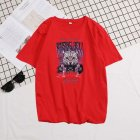 Short Sleeves and Round Neck Shirt Leisure Pullover Top with Animal Pattern Decorated 6101 red_2XL