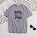 Short Sleeves and Round Neck Shirt Leisure Pullover Top with Animal Pattern Decorated 6101 gray_L