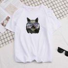 Short Sleeves and Round Neck Shirt Leisure Pullover Top with Animal Pattern Decorated 6105 white_M