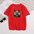 Short Sleeves and Round Neck Shirt Leisure Pullover Top with Animal Pattern Decorated 6105 red_M