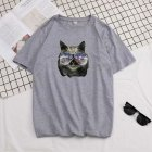 Short Sleeves and Round Neck Shirt Leisure Pullover Top with Animal Pattern Decorated 6105 gray_M
