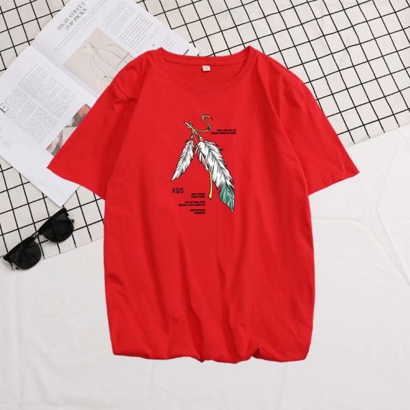 Short Sleeves and Round Neck Shirt with Feather Printed Leisure Top Pullover for Man 658 red_L