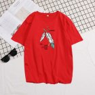 Short Sleeves and Round Neck Shirt with Feather Printed Leisure Top Pullover for Man 658 red_3XL