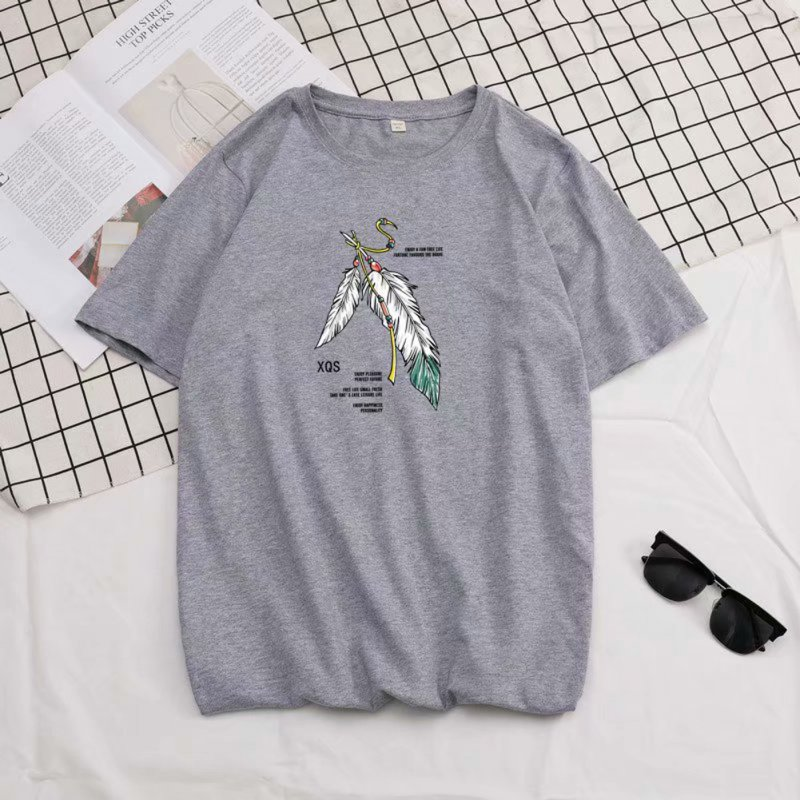 Short Sleeves and Round Neck Shirt with Feather Printed Leisure Top Pullover for Man 658 gray_3XL