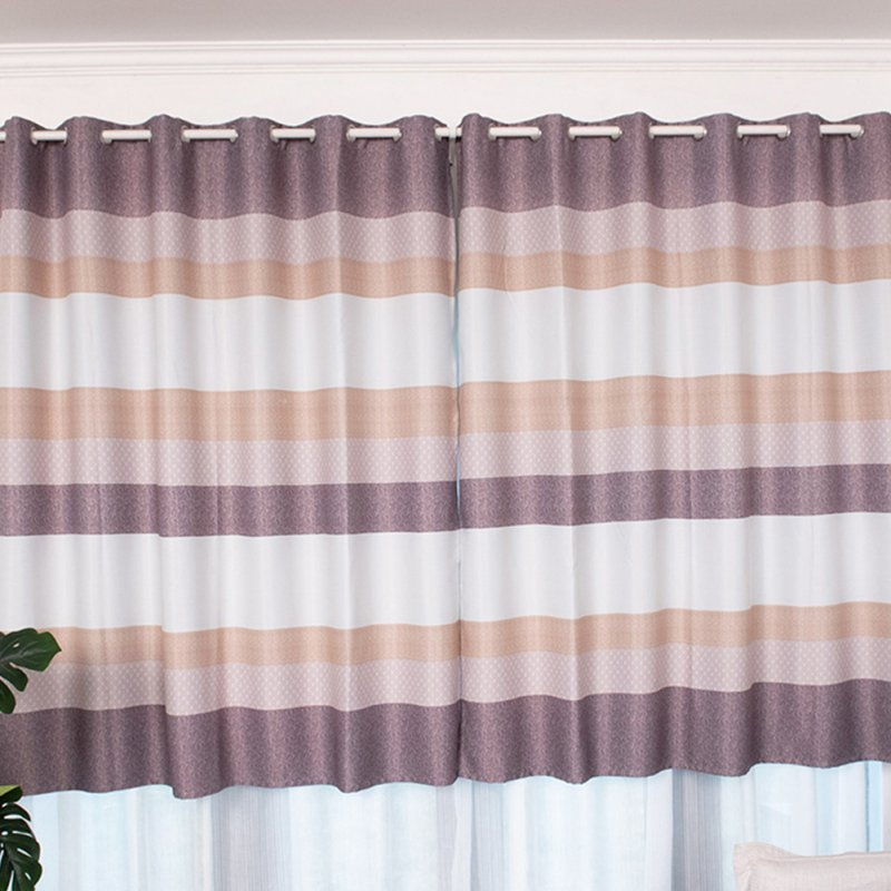 Short Stripes Printing Window Curtain Shading Drapes for Dormintory Bedroom Coffee color_1.5 meters wide * 2 meters high