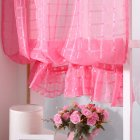 Short Tulle Curtains for Living Room Window Decorative Drapes rose Red_1 meter wide x 1.4 meters high
