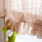 Short Tulle Curtains for Living Room Window Decorative Drapes Brown_1 meter wide x 1.4 meters high