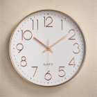 Silent Sweep  Movement Wall Clock Fashion Living Room Wall Clock 12 Inch  30cm Rose gold plating on white
