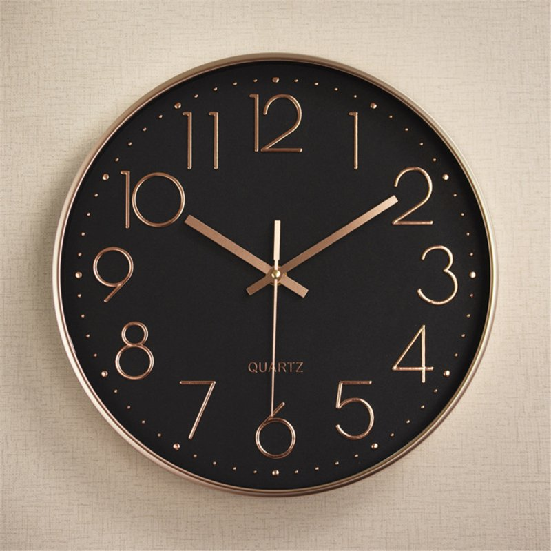 Silent Sweep  Movement Wall Clock Fashion Living Room Wall Clock 12 Inch  30cm Plating black rose gold