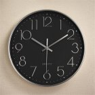 Silent Sweep  Movement Wall Clock Fashion Living Room Wall Clock 12 Inch  30cm Silver plating on black
