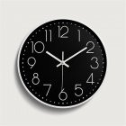 Silent Sweep  Movement Wall Clock Fashion Living Room Wall Clock 12 Inch  30cm White frame on black