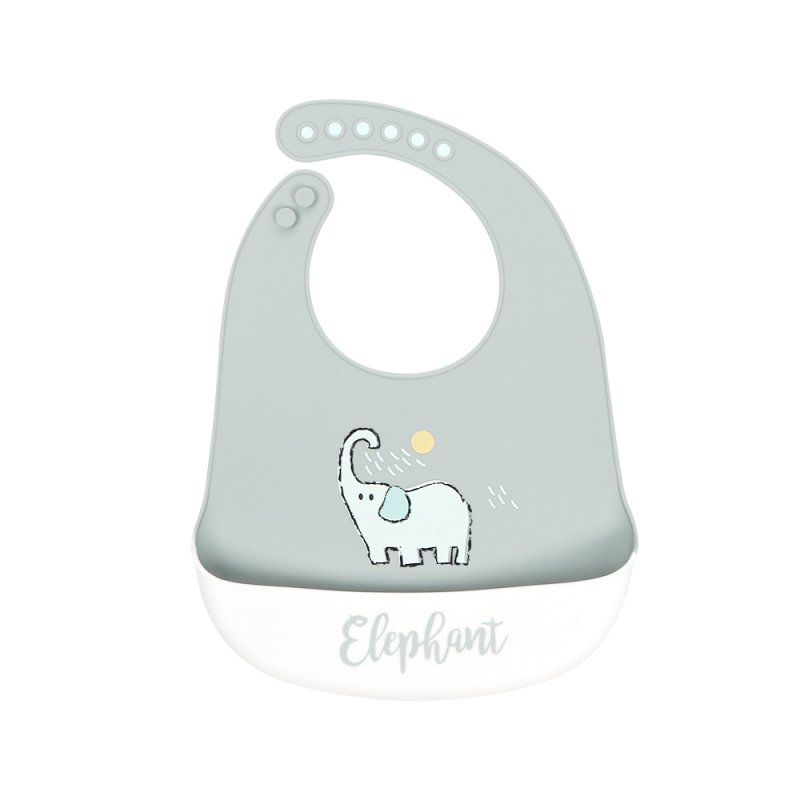 Silicone Baby Bib Adjustable Fit Waterproof Baby cartoon silicone bib Squirting Elephant