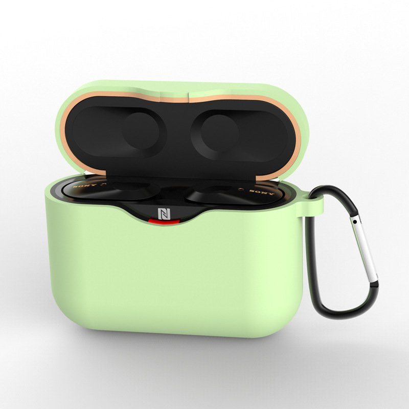 Silicone Case for SONY WF-1000XM3 Bluetooth Earphone Charging Box Cover Soft Shell with Anti-lost Hook green_for SONY WF-1000XM3