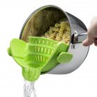 Silicone Colanders Strainer Drainer Clip On Pot For Draining Excess Liquid Kitchen Cookware green