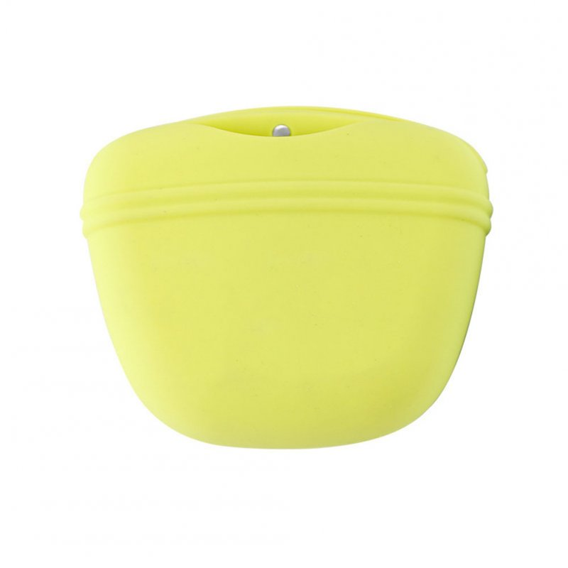 Silicone Dog Treat Bag Pocket Food Snack Pouch Haversack Waist Bag for Outdoor Pet Training green