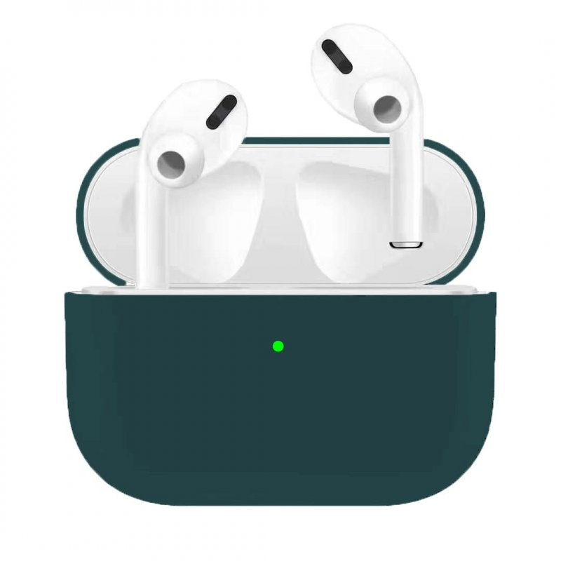 Silicone Earphone Case For Airpods Pro Shockproof Cases For Apple Bluetooth Headset Protective Cover Dark green