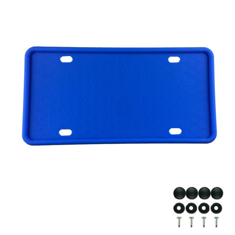 Silicone License Plate Frame License Plate Frames Holders with Drainage Holes for American Car Licenses blue