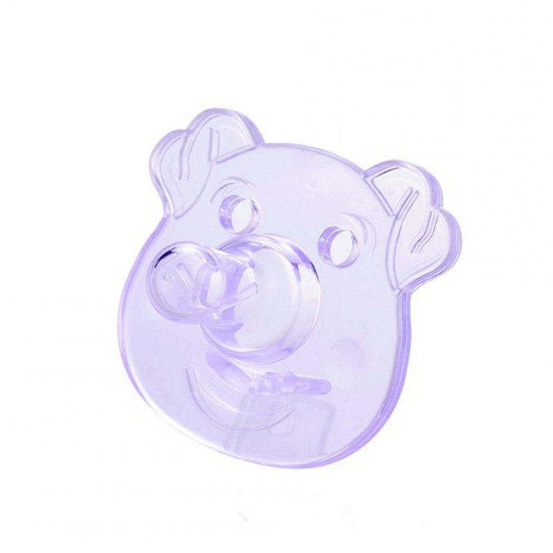 Silicone Pacifiers Baby Cartoon Silicone Teether Pacifiers Newborn Soother Accessories Piggy-Purple