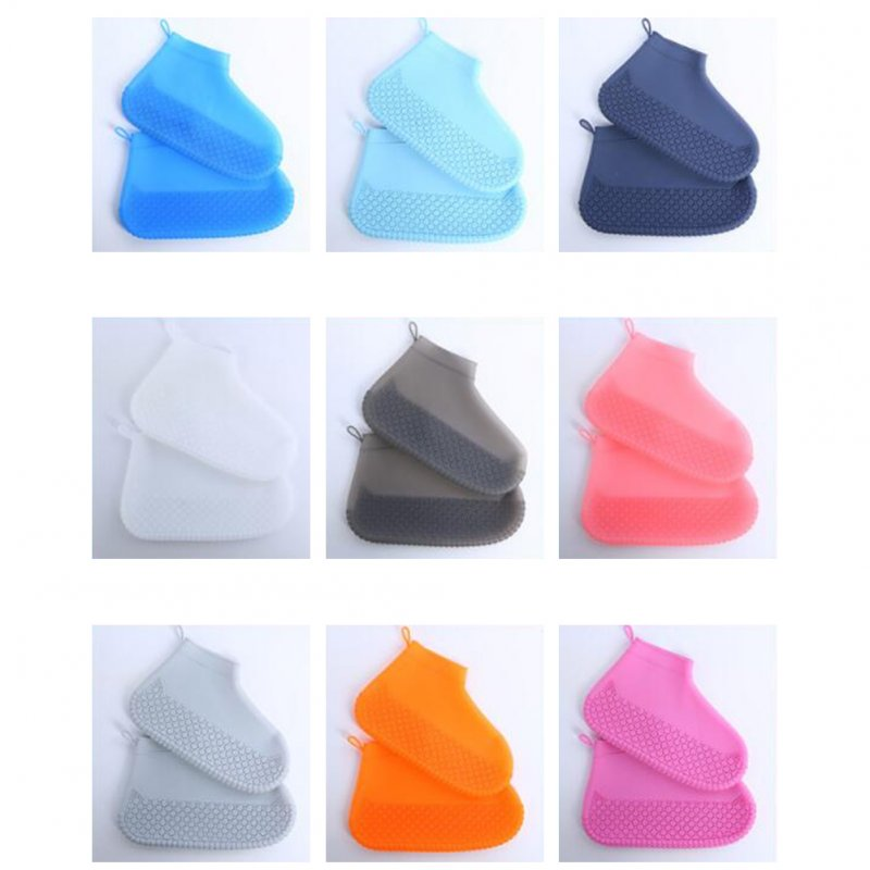 Silicone Shoe Cover Reusable Waterproof Outdoor Camping Slip-resistant Rubber Rain Boot Overshoes Sapphire blue_S