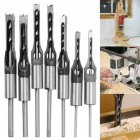 Silver Color Square Hole Mortiser Saw  Drill Bit Set for Woodworkers 7-piece set