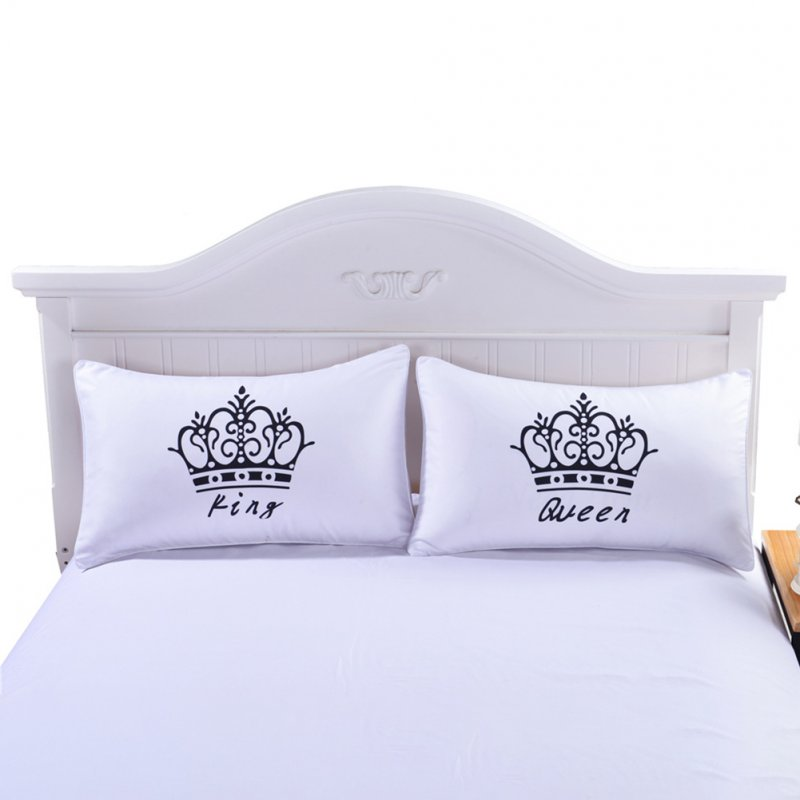 Simple KING&QUEEN Printing Couples Pillow Cases Lovers Pillow Cover Pillowcases for Bedroom Supplies