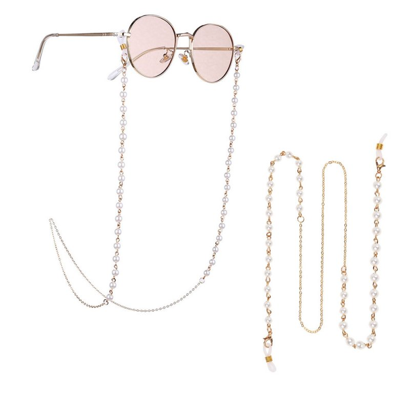 Simple Pearls Sunglasses Chain Hanging Neck Anti-falling Glasses Eyeglass Cord Necklace Gold