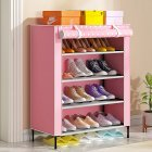 Simple Shoe Cabinet with Curtained Door Assembly Modern Shoe Rack for Home Storage Pink dots 59   28   64 5cm