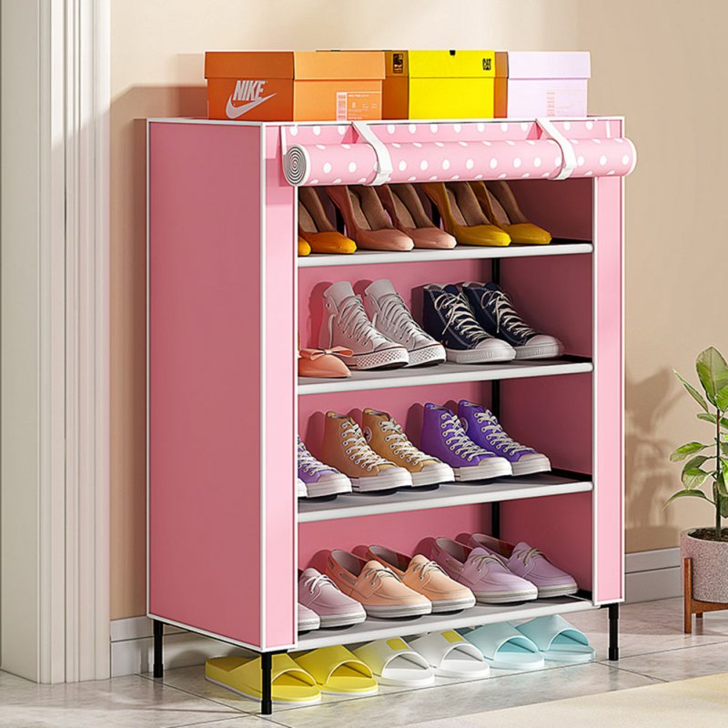 Simple Shoe Cabinet with Curtained Door Assembly Modern Shoe Rack for Home Storage Pink dots_59 * 28 * 64.5cm