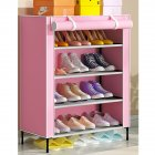 Simple Shoe Cabinet with Curtained Door Assembly Modern Shoe Rack for Home Storage Pink_59 * 28 * 64.5c, m