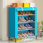 Simple Shoe Cabinet with Curtained Door Assembly Modern Shoe Rack for Home Storage blue_59 * 28 * 64.5cm