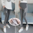 Simple Side Stripes Abdomen Support Leggings Trousers for Pregnant Woman  Dark gray  white strip  2XL