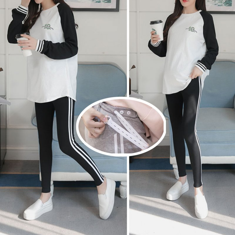 Simple Side Stripes Abdomen Support Leggings Trousers for Pregnant Woman  Black (white strip)_L