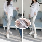Simple Side Stripes Abdomen Support Leggings Trousers for Pregnant Woman  Light gray (white strip)_L