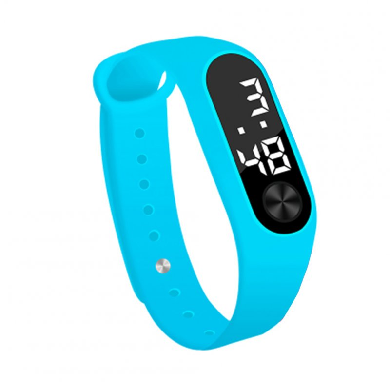 Simple Watch Hand Ring Watch Led Sports Fashion Electronic Watch Sky blue