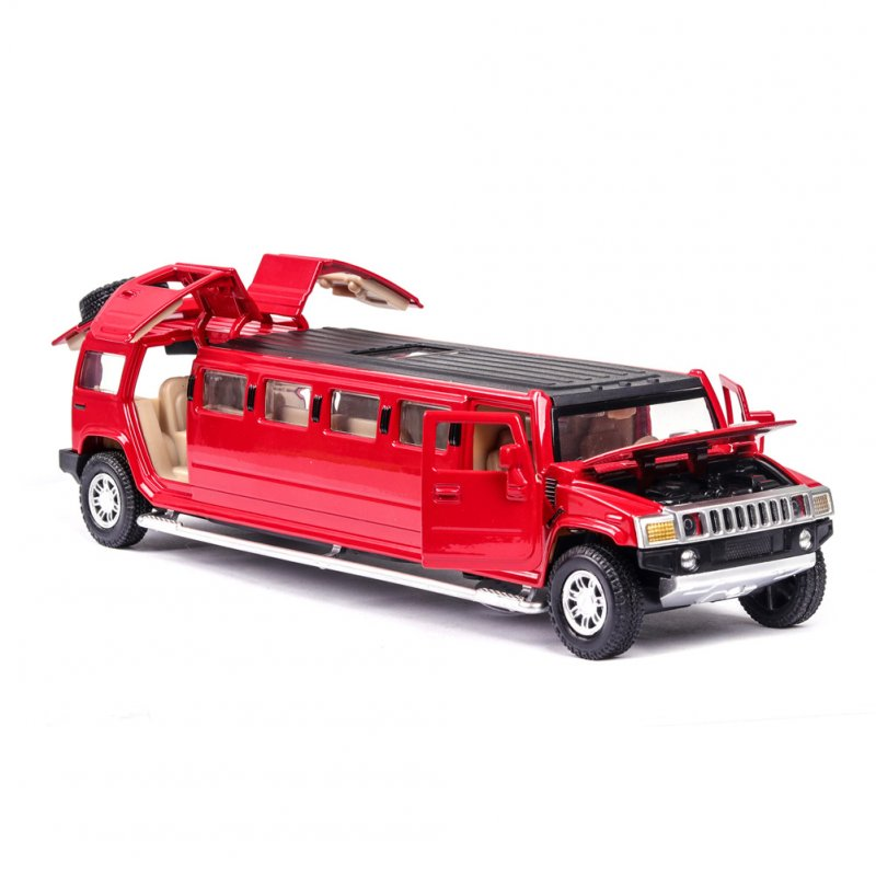 Simulate 1:32 Lengthen Model Car Sound Light Toy for Hummer  red