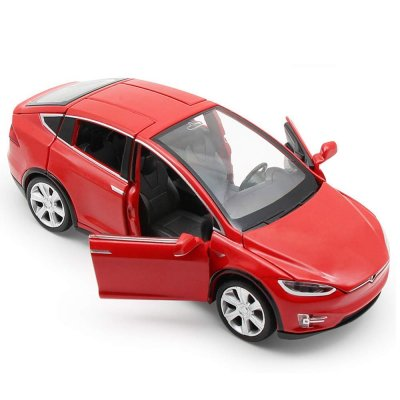 Simulate Alloy Pull back Car Kids Toy with Sound and Light  Function 1:32 Scale Model X 90 red