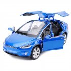 Simulate Alloy Pull back Car Kids Toy with Sound and Light  Function 1:32 Scale Model X 90 blue