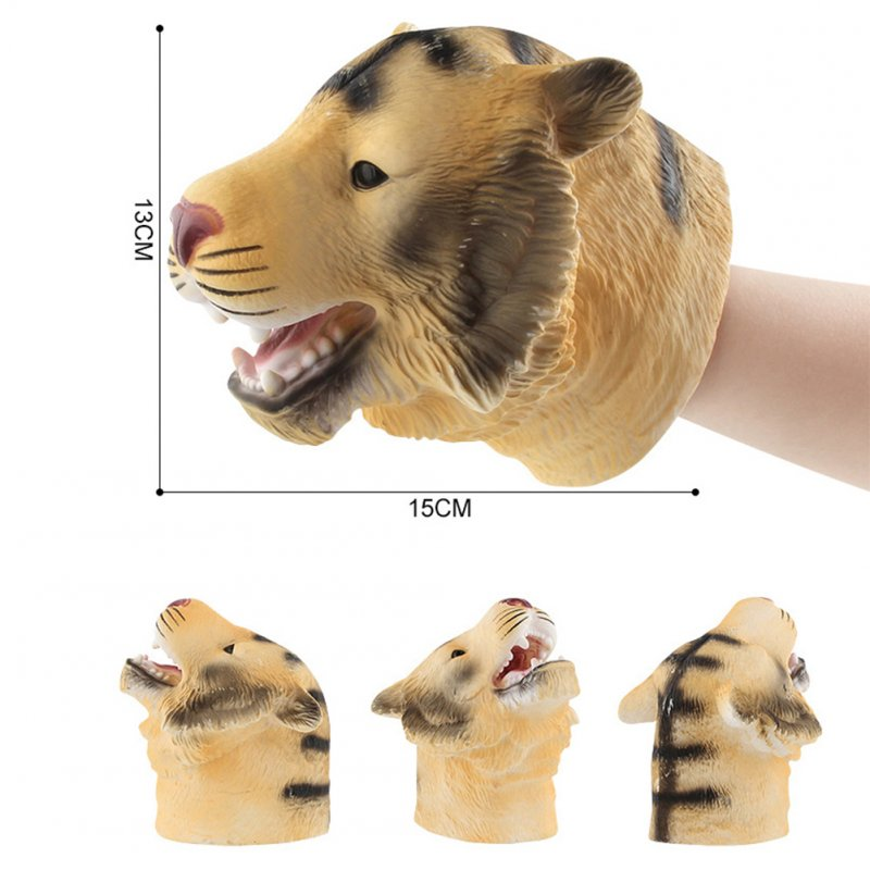 Simulate Animal Hand Puppet Head Hand Puppet Playing Fun Toy for Halloween Prop Home Party Kids Gift A2 Tiger