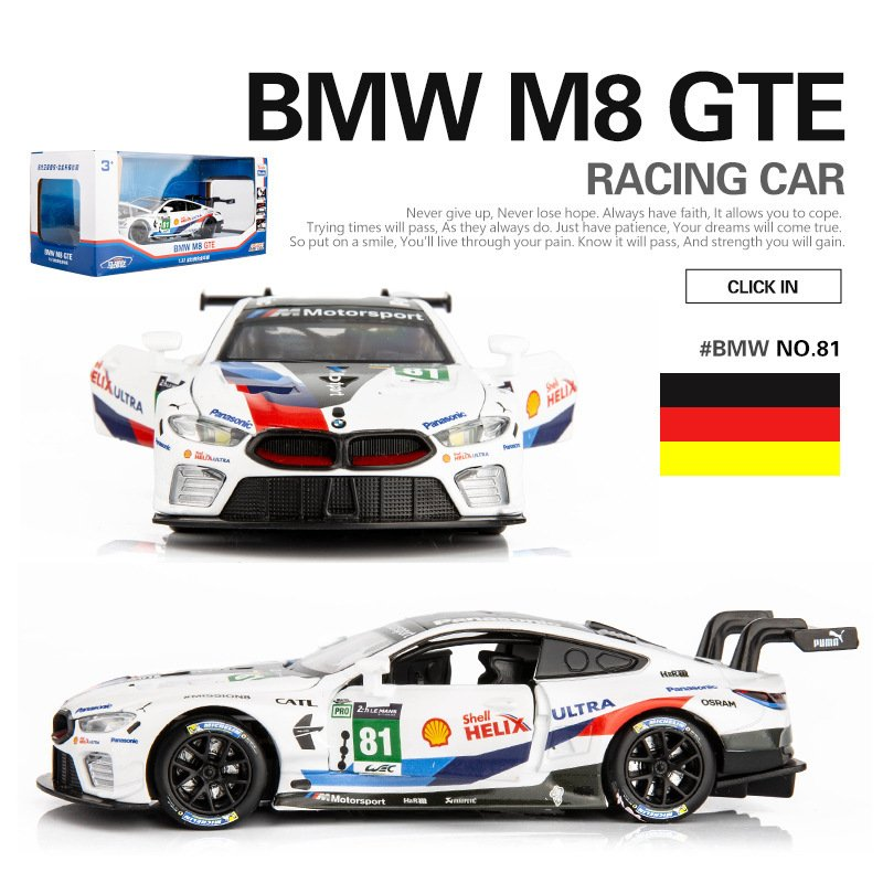Simulate BMW M8 Racing Car Model Toy Kids Sound Light Alloy Car Model A