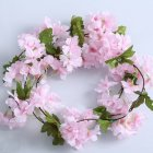 Simulate Cherry Blossom Flower Rattan for Wedding Home Wall Decoration Light pink
