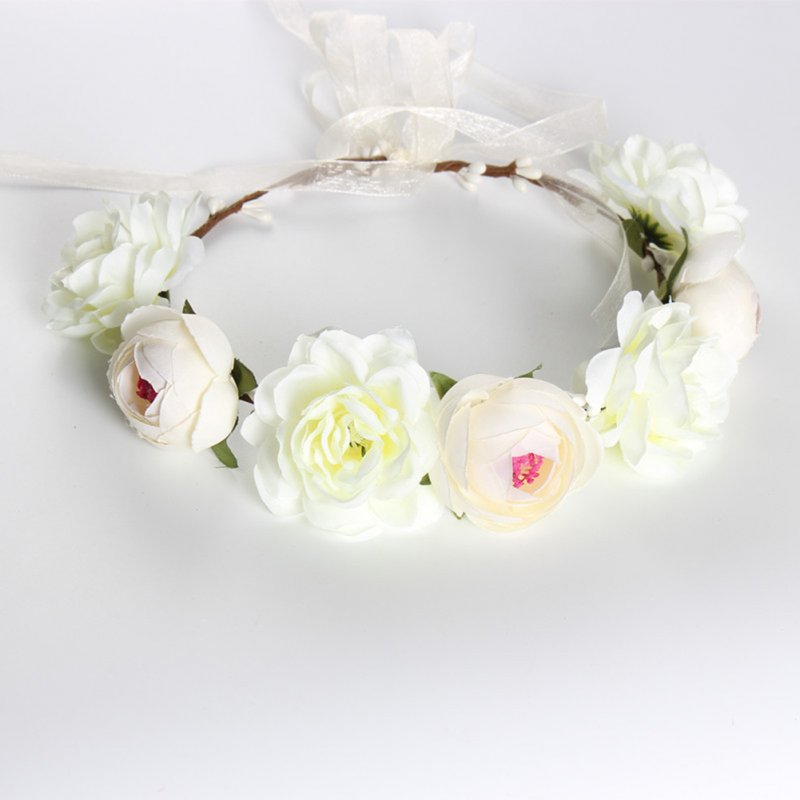 Simulate Flower Garland Headband Floral Head Wreath Wedding Party Headwear Photo Prop white