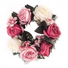 Simulation Floral Door Wreath Multicolor Artificial Rose Garland for Home Wall Garden Wedding Party Decor 12 Inch