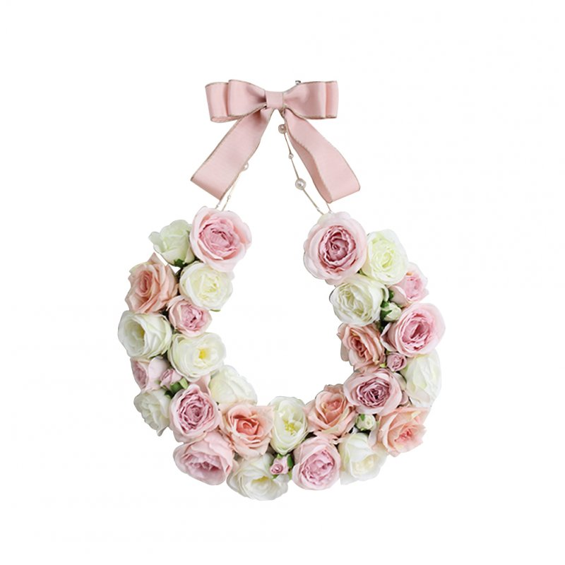 Simulation Rose Floral Door Wreath Artificial Garland Home Wall Garden Wedding Party Decor Pink