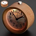 Singeek Classic Small Round Wood Grain Mute Table Alarm Clock With Nightlight