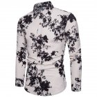Single-breasted Shirt of Long Sleeves and Turn-down Collar Floral Printed Top for Man CS24 black_M