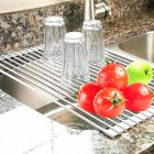 Sink Roll-Up Dish Drying Rack Multifunction Drain Rack for Tableware
