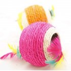 Sisal Rope Feather Ball Teaser Scratch Chew Toy for Pet Cat Kitten Random Color
