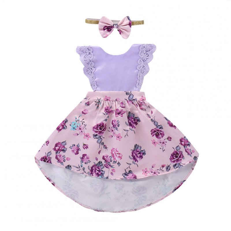 Sisters Version Girl Lace Princess Dress with Purple Flower Printing + Bowknot Hairband Wedding Outfits Performance Dress Gift