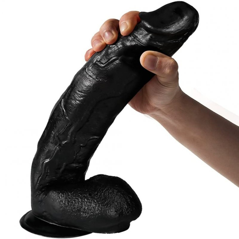Skin Feeling Realistic Dildo Soft Liquid Silica Gel Penis With Suction Cup Sex Toys For Woman black