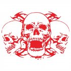 Skull Car Body Racing Side Door Long Stripe Stickers Auto Vinyl Decal red